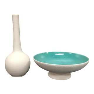 1960s Contemporary Royal Haeger Pottery Vase and Bowl - 2 Pieces For Sale