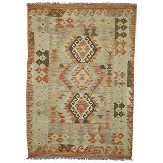 """Boho Chic Vintage Tribal Afghani Shirvan Kilim Rug - 3'3"""" X 4'8"""""""