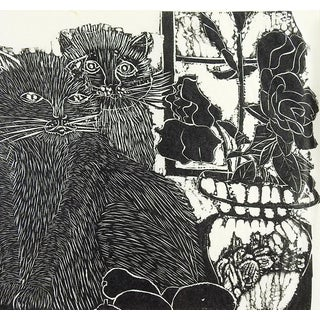 Cats at the Window Block Print For Sale
