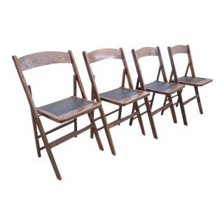 Vintage Wooden Folding Chairs - Set of 4