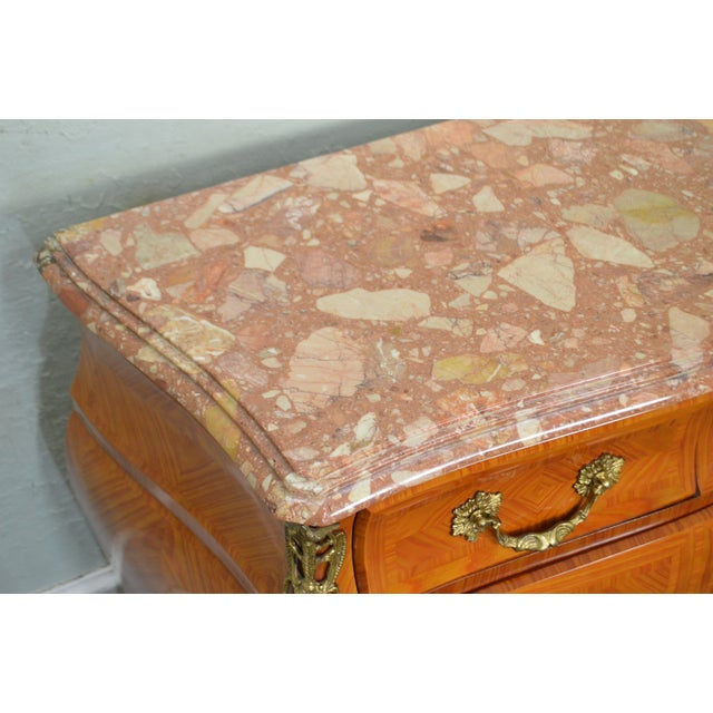 French Louis XV Style Marble Top Bombe Commode Chest of Drawers For Sale - Image 11 of 12