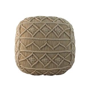 Pasargad Square Stuffed Macrame Cotton Pouf Handmade Fabric Ottoman For Sale