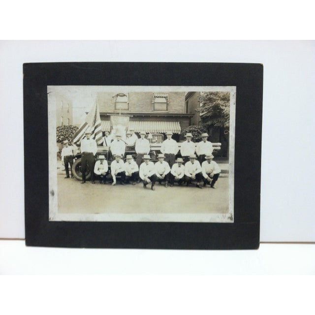 "Early 20th Century Antique ""Fireman of Port Vue, Pa"" Mounted Black & White Photograph For Sale - Image 4 of 4"