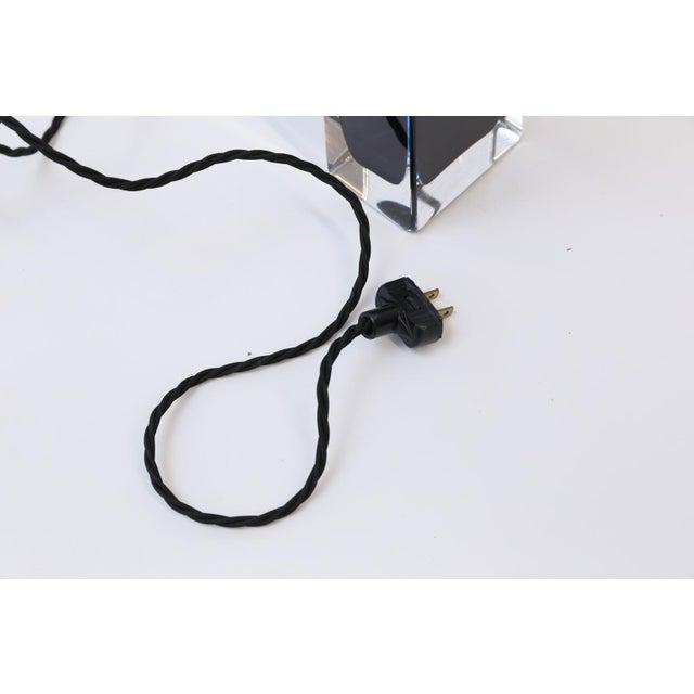 Metal Orrefors Blue Crystal Lamp For Sale - Image 7 of 9
