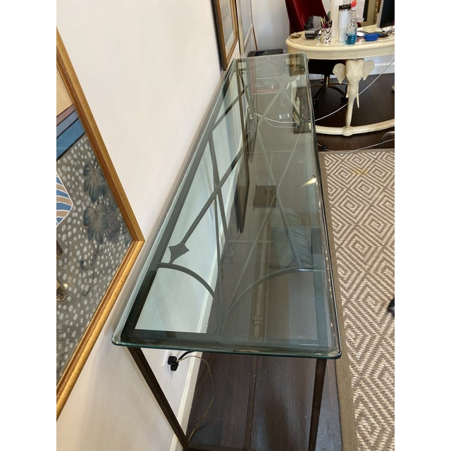 Metal Iron and Glass Arrow Motif Console For Sale - Image 7 of 12