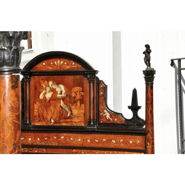 Neoclassical 18th Century Neoclassical Italian Walnut Marquetry and Bone Inlaid Bed For Sale - Image 3 of 6