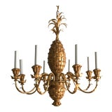 Image of 1960s Italian Vintage Gilt Tole Pineapple Chandelier For Sale