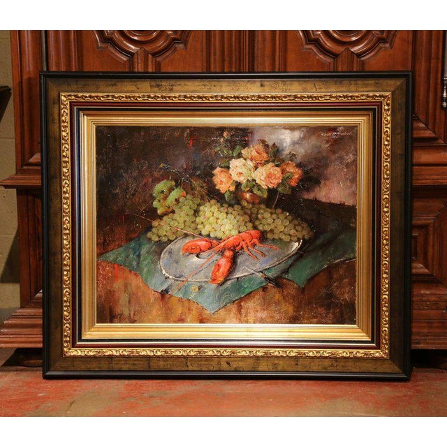 Brown Carl Fischer (Artist) Important 20th Century Still Life Oil Painting With Lobster Signed Carl Fischer Circa 1920 For Sale - Image 8 of 8