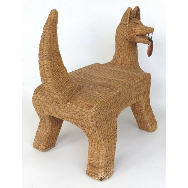 1970s Mexican Mario Lopez Torres Woven Reed & Copper Coyote Bench For Sale In Miami - Image 6 of 12
