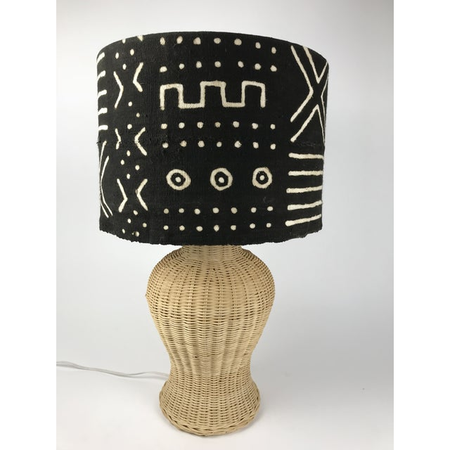 Wicker Ginger Jar Table Lamp With Mud Cloth Drum Shade For Sale - Image 13 of 13