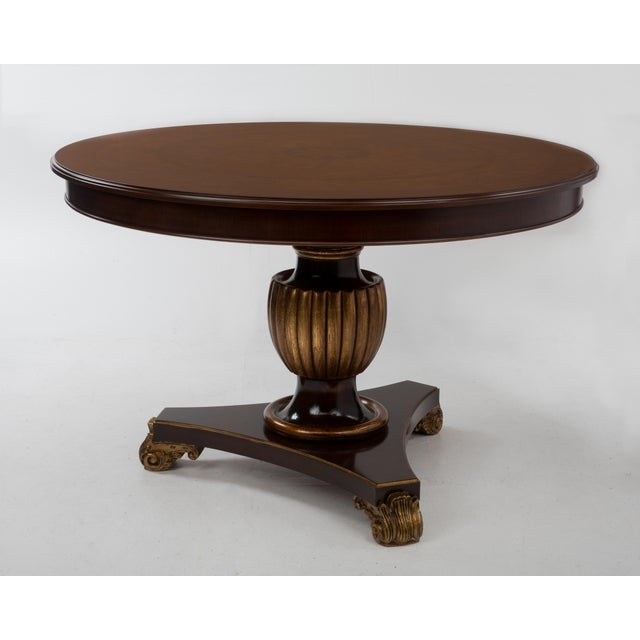 1970s Italian Center Table Pedestal Base Inlaid Mahogany Burl Gilt Italy 1970s For Sale - Image 5 of 13