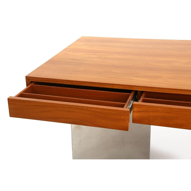 Stunning Teak and Polished Steel Desk by Pace For Sale - Image 4 of 7