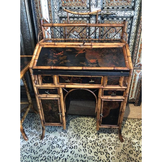 Brown 19th Century Boho Chic Bamboo Bureau Secretary Desk For Sale - Image 8 of 8