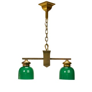1950s Traditional Revival Two Light Pendant Light Fixture For Sale