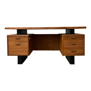 Mid-Century Modern Floating Teak and Lacquer Desk For Sale