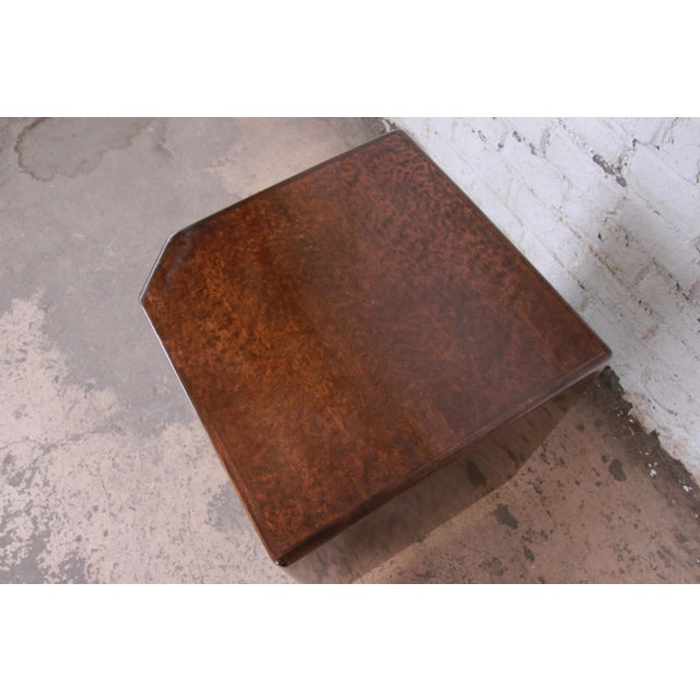 Milo Baughman for Thayer Coggin Maple and Brass Cube Side Table For Sale In South Bend - Image 6 of 9