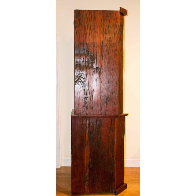 Antique Railroad Hand Carved Red Jarrah Wood Corner Bookcase - Image 2 of 13