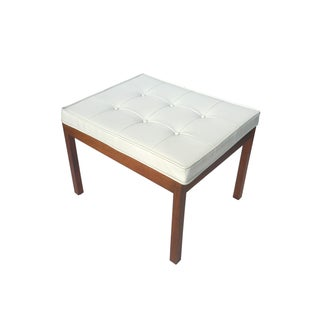 Hibriten Chair Co Vintage 1960s Tufted White Bench