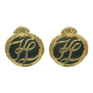 """Karl Lagerfeld Oversize Black & Gold"""" Kl"""" Signature Earrings For Sale"""