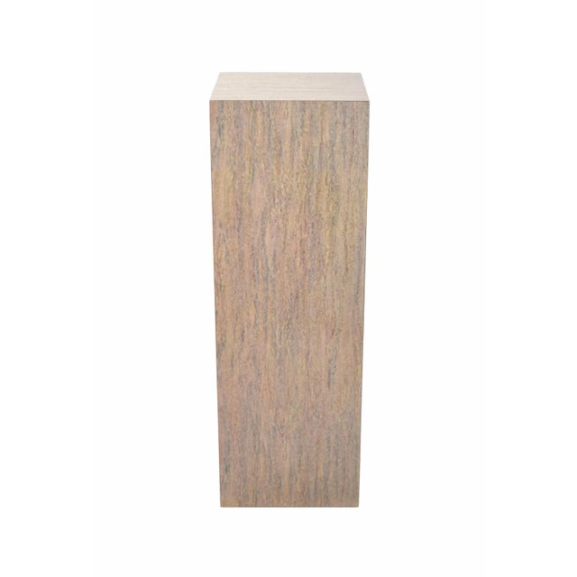 Versatile and handy modern pedestal, perfect for sculptures or plants. Heavy and solid with faux travertine marble...