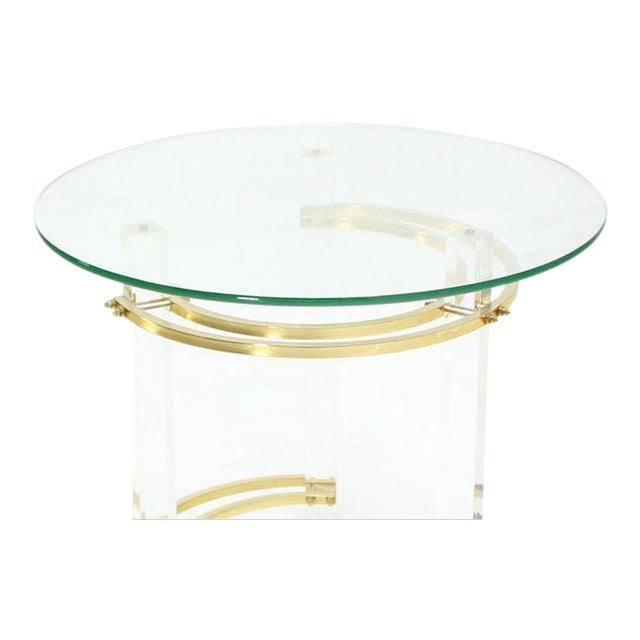 Charles Hollis Jones Round Lucite and Brass Side Table For Sale