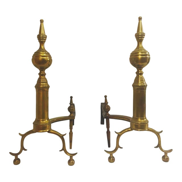 18th Century American Steeple Top Andirons - a Pair For Sale