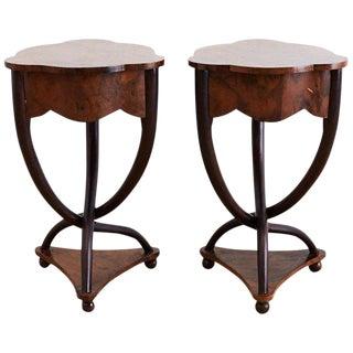 Pair of Biedermeier Bent Leg Burl Wood Tables For Sale