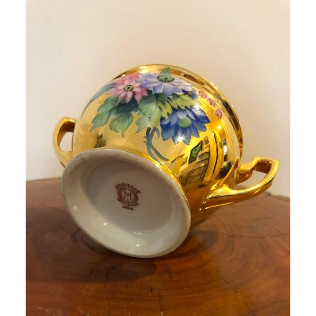 Hollywood Regency Final Price! Antique Gold Floral Noritake Sugar Bowl For Sale - Image 3 of 6