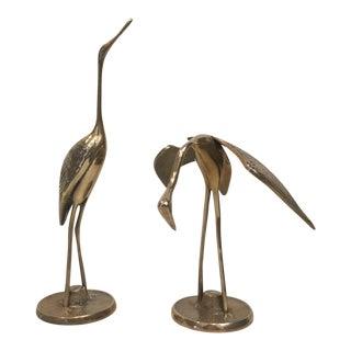 Brass Crane Figurines - A Pair