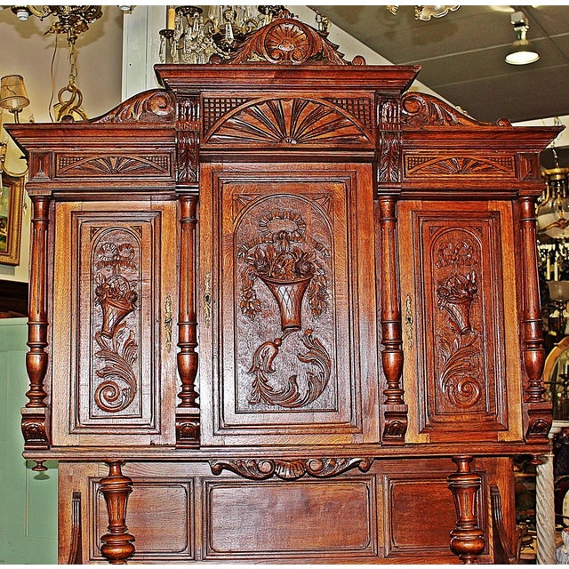 French Rococo Hand-Carved Hutch - Image 4 of 9
