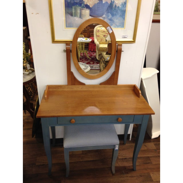 Ethan Allen Country Blue Vanity With Bench - Image 2 of 8