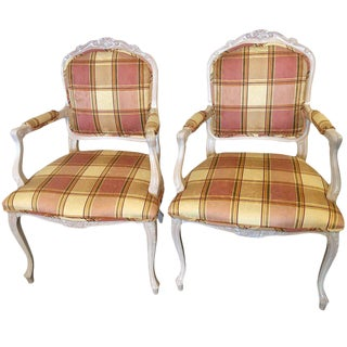 Burberry Inspired Custom Upholstered Louis XV Style Arm Chairs - a Pair