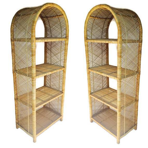 1970s Vintage Rattan Etagere Arched Bookcases - A Pair For Sale In Richmond - Image 6 of 12