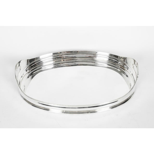 Mid-Century Modern Silver Plate Barware Tray For Sale - Image 4 of 11