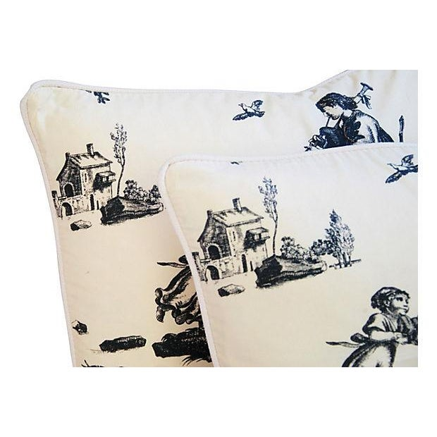French Countryside Toile Pillows - A Pair - Image 4 of 7