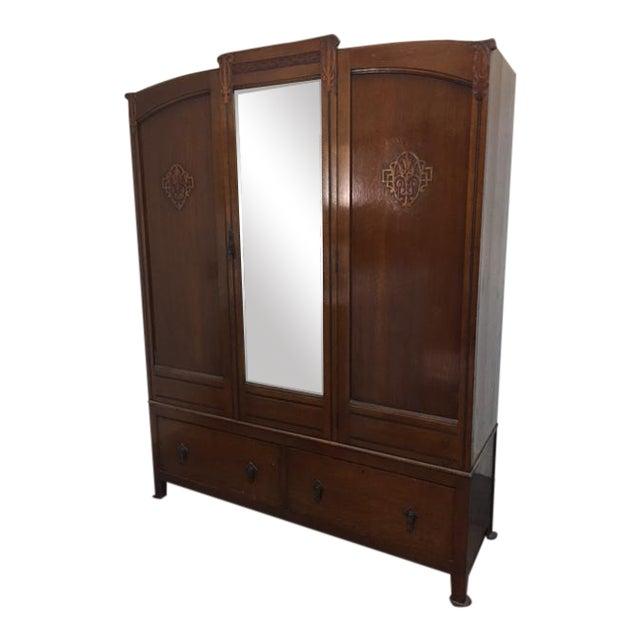 Bath Cabinet Makers 1928 Oak Art Deco Armoire For Sale