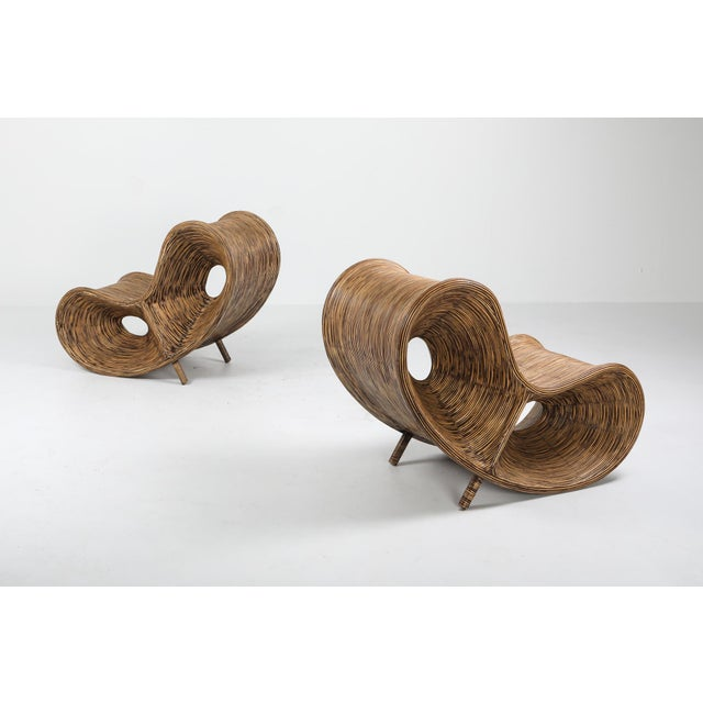 1980s 1980s Bamboo Rattan Lounge Chairs, Italy - a Pair For Sale - Image 5 of 13