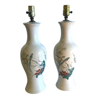 Vintage Mid-Century Chinoiserie Ginger Jar Bird Lamps - A Pair For Sale