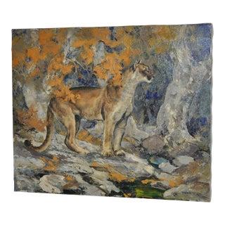 "Bill Freeman (Arizona / Wyoming) ""Listening"" Cougar Oil Painting C.1970s For Sale"