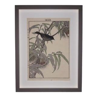 """Imao Keinen """"Black Bird and Chestnut Tree"""" Custom Framed Original Art For Sale"""