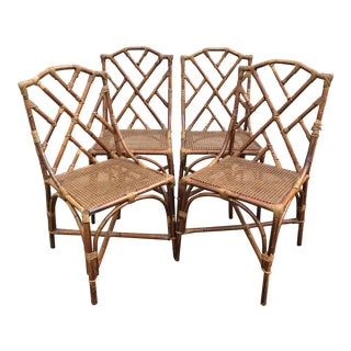 Chinese Chippendale Rattan Dining Chairs - Set of 4