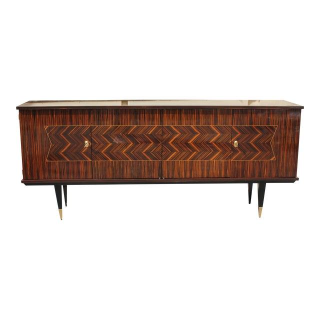 Long French Art Deco Exotic Macassar Ebony Zig Zag Sideboard ...