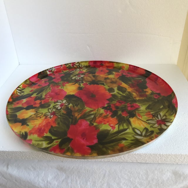 Mid-Century Floral Acrylic Serving Tray - Image 2 of 8