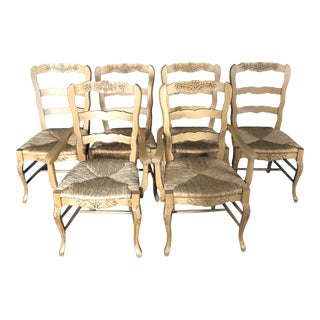French Provincial Carved Ladderback Dining Chairs With Rush Seats -Set of 6 For Sale