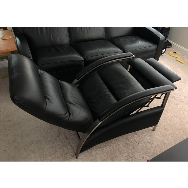 Ethan Allen Genuine Black Leather Radius Recliner For Sale In San Francisco - Image 6 of 7