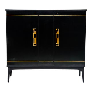 Mid Century Swedish Ebonized Two-Door Cabinet With New Brass Hardware For Sale