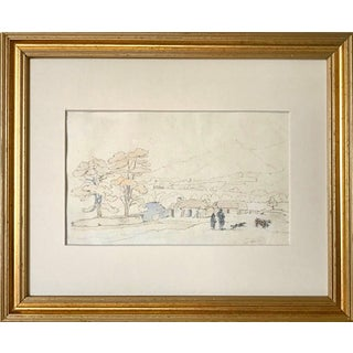 19th Century Landscape Drawing With Hand Coloring 1830 For Sale
