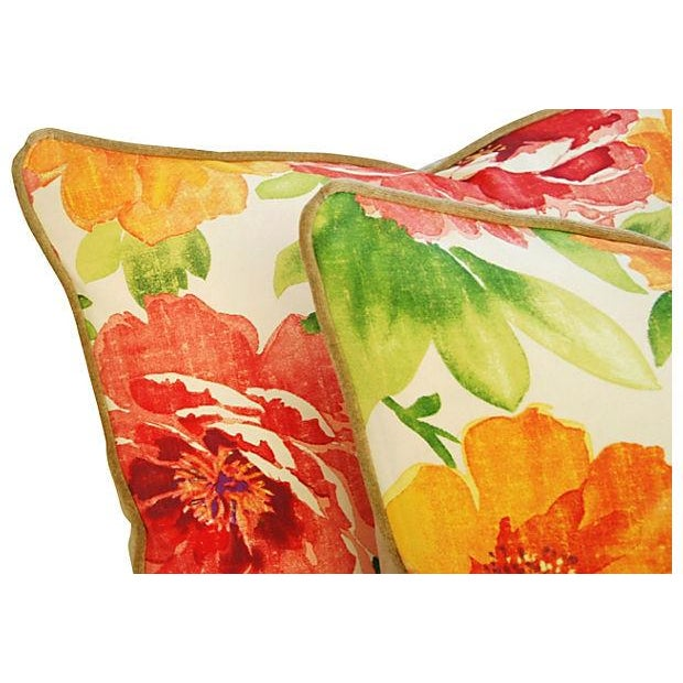 """Scalamandre Custom Floral & Scalamandre Velvet Feather/Down Pillows 26"""" X 18"""" - Pair For Sale - Image 4 of 9"""