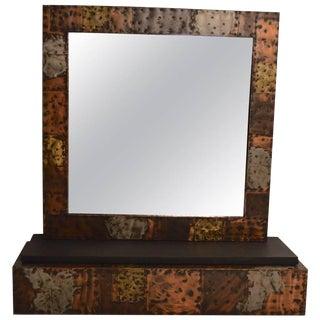 Paul Evans Brutalist Mirror and Shelf For Sale