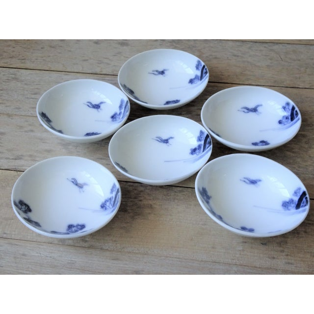 Blue Vintage Japanese Blue and White Small Dishes - Set of 6 For Sale - Image 8 of 13